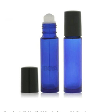 10ml blue roll on glass bottle for essential oil with plastic black cap